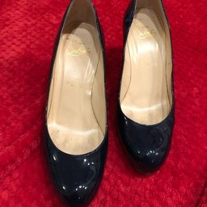 Navy patent Christian louboutin heels